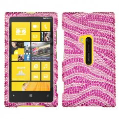 Nokia Lumia 920 Zebra Skin Pink/Hot Pink Diamante Case