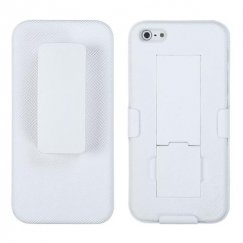 Apple iPhone 5/5s Rubberized Solid Ivory White Hybrid Holste with Stand