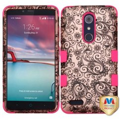 ZTE Grand X Max 2 Black Four-Leaf Clover 2D Rose Gold/Electric Pink Hybrid Case