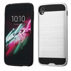 Alcatel One Touch Idol 3 (5.5) Silver/Black Brushed Hybrid Case