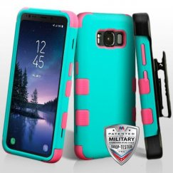 Samsung Galaxy S8 Active Rubberized Teal Green/Electric Pink Hybrid Case Military Grade with Black Horizontal Holster