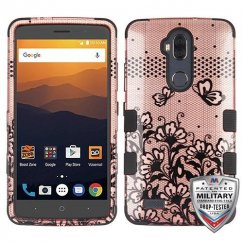 ZTE Blade Max 3 / Max XL Black Lace Flowers (2D Rose Gold)/Black Hybrid Case Military Grade