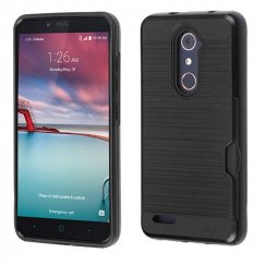 ZTE Grand X Max 2 Black/Black Brushed Hybrid Case with Card Wallet