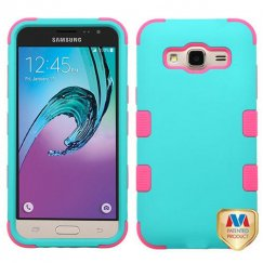 Samsung Galaxy J3 Rubberized Teal Green/Electric Pink Hybrid Case
