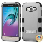 Samsung Galaxy J3 Natural Gray/Black Hybrid Case with Stand