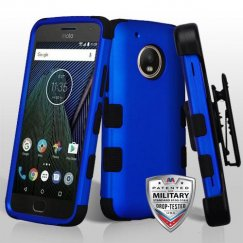 Motorola Moto G5 Plus Titanium Dark Blue/Black Hybrid Case Military Grade with Black Horizontal Holster