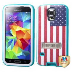 Samsung Galaxy S5 United States National Flag/Tropical Teal Hybrid Case with Stand