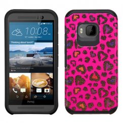 HTC One M9 Colorful Glittering Leopard Skin Hot Pink/Black Advanced Armor Case