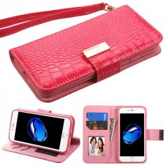 Apple iPhone 8 Electric Pink Crocodile-Embossed Wallet