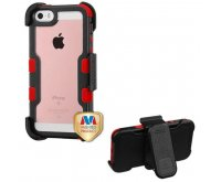 Apple iPhone 5/5s Natural Black Frame PC Back/Red Vivid Hybrid Case with Black Horizontal Holster