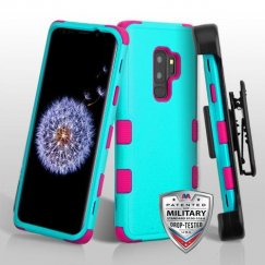 Samsung Galaxy S9 Plus Natural Teal Green/Electric Pink Hybrid Phone Case Military Grade with Black Horizontal Holster