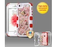 Apple iPhone 5/5s Natural Ivory White Frame Painted Flowers PC Back/Red Vivid Hybrid Case