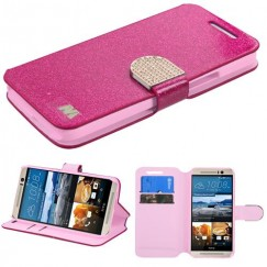 HTC One M9 Hot pink Glittering Wallet with Diamante Belt