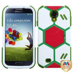 Samsung Galaxy S4 White/Grass Green Goalkeeper Hybrid Case with Red Stand