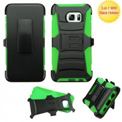 Samsung Galaxy S6 Edge Plus Black/Green Advanced Armor Stand Case with Black Holster