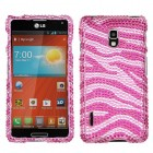 LG Optimus F7 Zebra Skin (Pink/Hot Pink) Diamante Case