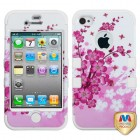 Apple iPhone 4/4s Spring Flowers/Solid White Hybrid Phone Protector Cover
