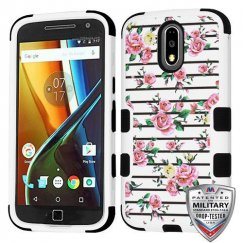 Motorola Moto G4 / Moto G4 Plus Pink Fresh Roses/Black Hybrid Phone Case Military Grade