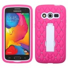 Samsung Galaxy Avant White/Hot Pink Symbiosis Stand Case with Diamonds