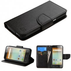 Alcatel One Touch Elevate Black Pattern/Black Liner wallet with Card Slot