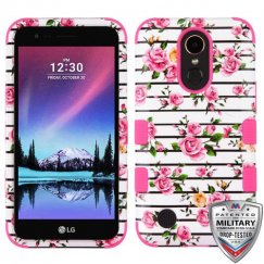 LG K10 Pink Fresh Roses/Electric Pink Hybrid Case Military Grade