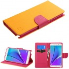 Samsung Galaxy Note 5 Yellow Pattern/Hot Pink Liner wallet with Card Slot