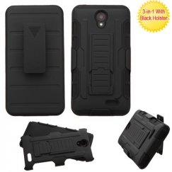 ZTE Avid Plus / Maven 2 Black/Black Advanced Armor Stand Case with Black Holster