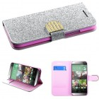 HTC One M8 Silver Glittering Wallet with Diamante Belt