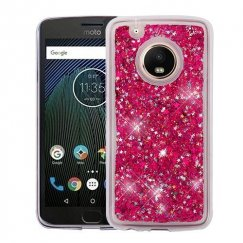Motorola Moto G5 Plus Hot Pink Meteor Shower Quicksand Glitter Hybrid Case