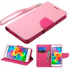 Samsung Galaxy Grand Prime Pink Pattern/Hot Pink Liner Wallet with Lanyard