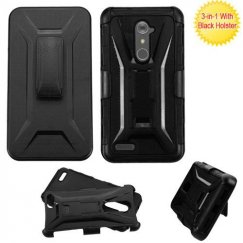 ZTE Grand X Max 2 Black/Black Advanced Armor Stand Case with Black Holster
