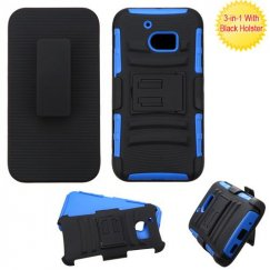 HTC 10 Black/Dark Blue Advanced Armor Stand Case with Black Holster