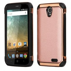 ZTE Avid Plus / Maven 2 Rose Gold Lychee Grain Rose Gold Plating/Black Astronoot Case