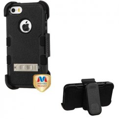 Apple iPhone 5/5s Natural Black/Black Hybrid Case with Stand and Black Horizontal Holster