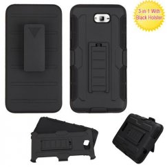 Samsung Galaxy On7 Black/Black Advanced Armor Stand Case Combo with Black Holster