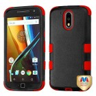 Motorola Moto G4 / Moto G4 Plus Natural Black/Red Hybrid Case