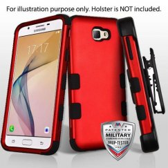 Samsung Galaxy J5 Prime Titanium Red/Black Hybrid Case Military Grade with Black Horizontal Holster