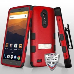 ZTE Blade Max 3 / Max XL Natural Red/Black Hybrid Case with Stand Military Grade with Black Horizontal Holster