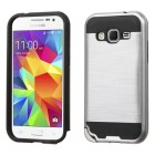Samsung Galaxy Core Prime Silver/Black Brushed Hybrid Case