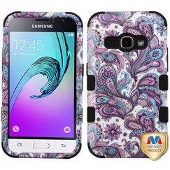 Samsung Galaxy J1 Purple European Flowers/Black Hybrid Case
