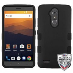ZTE Blade Max 3 / Max XL Rubberized Black/Black Hybrid Case Military Grade