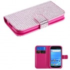 Samsung Galaxy S2 Pink Diamonds Book-Style Wallet with Card Slot