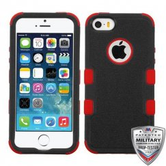 Apple iPhone 5s Natural Black/Red Hybrid Case