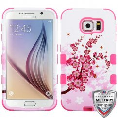 Samsung Galaxy S6 Spring Flowers/Electric Pink Hybrid Case Military Grade