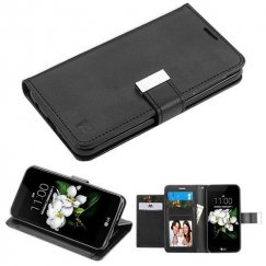 LG K8 Black/Black PU Leather Wallet with extra card slots