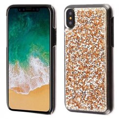 Apple iPhone X Rose Gold Mini Crystals Rhinestones Desire Back Case