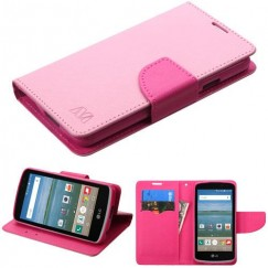 LG Optimus Zone 3 / Spree Pink Pattern/Hot Pink Liner Wallet with Card Slot