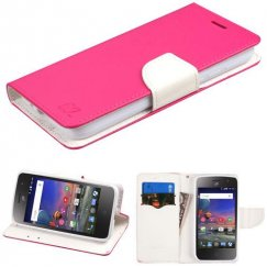 Alcatel Stellar / Tru 5065 Hot Pink Pattern/White Liner wallet with Card Slot