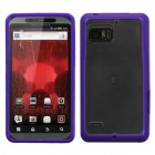 Motorola Droid Bionic Transparent Clear/Solid Purple Gummy Cover