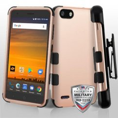 Rose Gold/Black Hybrid Case with Black Horizontal Holster